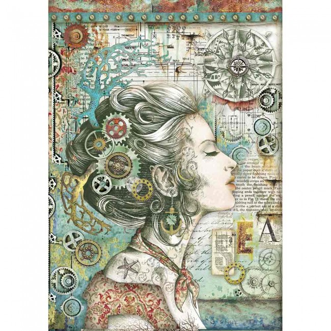 Papel de arroz decoupage A4 Mechanical Sea World Lady With Compass