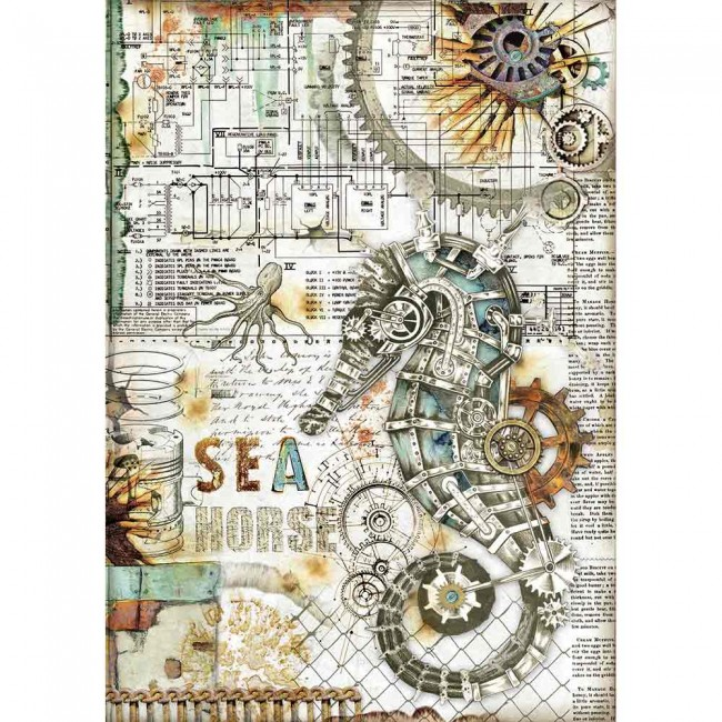 Papel de arroz decoupage A4 Mechanical Sea World S