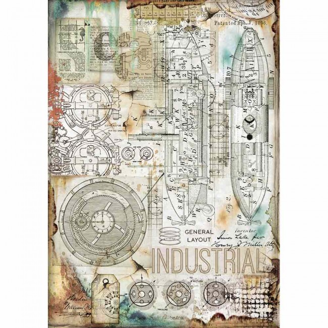 Papel de arroz decoupage A4 Mechanical Sea World Industrial