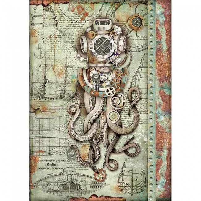 Papel de arroz decoupage A4 Mechanical Sea World O