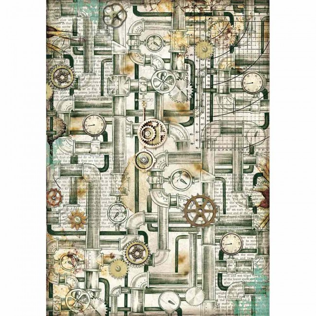 Papel de arroz decoupage A4 Mechanical Sea World P