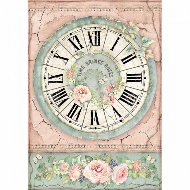 Papel de arroz decoupage A4 House Of Roses Clock