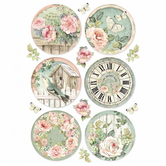 Papel de arroz decoupage A4 House Of Roses Round C