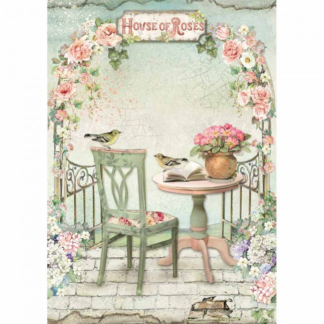 Papel de arroz decoupage A4 House Of Roses Paked Gazebo