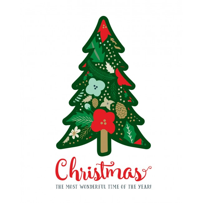 "Lámina Decorativa 8"" x 10"" Deck the Halls   Christmas Tree"