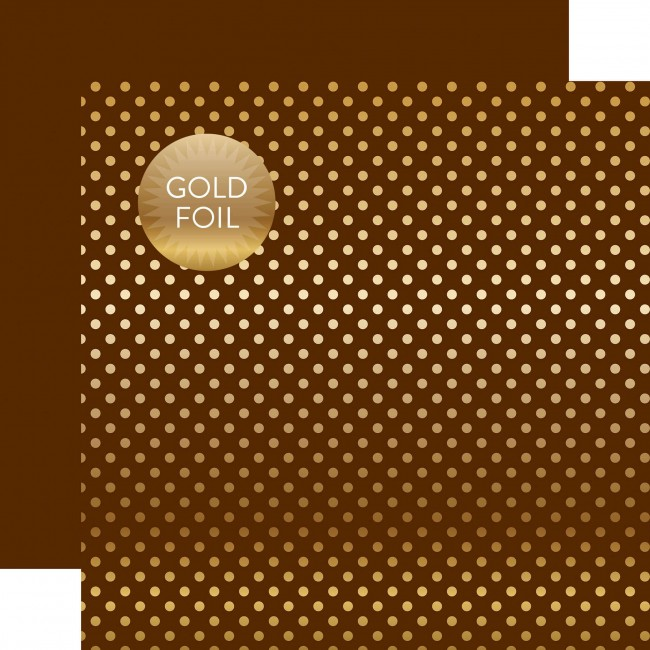 Papel Estampado Doble Cara 12x12   Dots & Stripes   Brown W/Gold