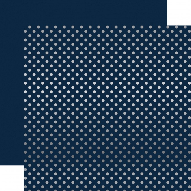 Papel Estampado Doble Cara 12x12 - Dots & Stripes - Dark Blue W/Silver