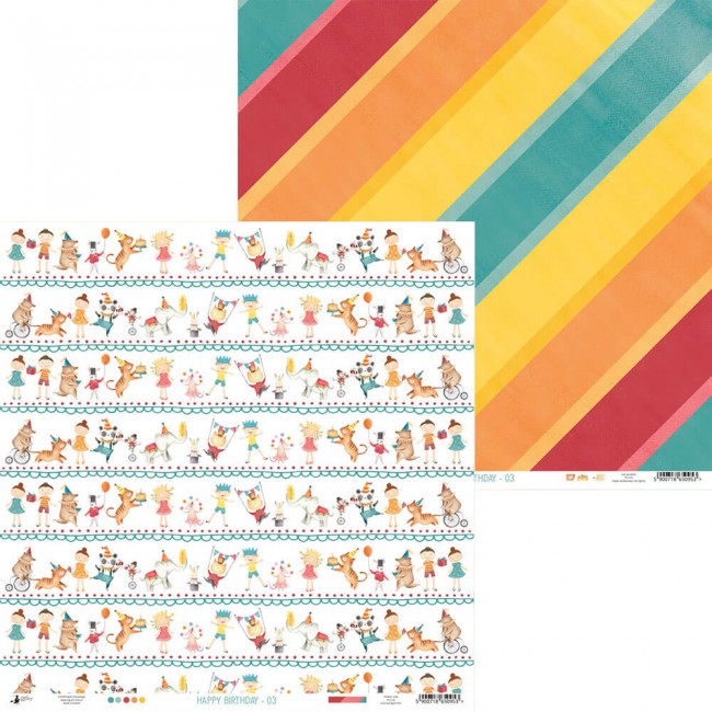 Papel Estampado Doble Cara 12x12 Happy Birthday 05