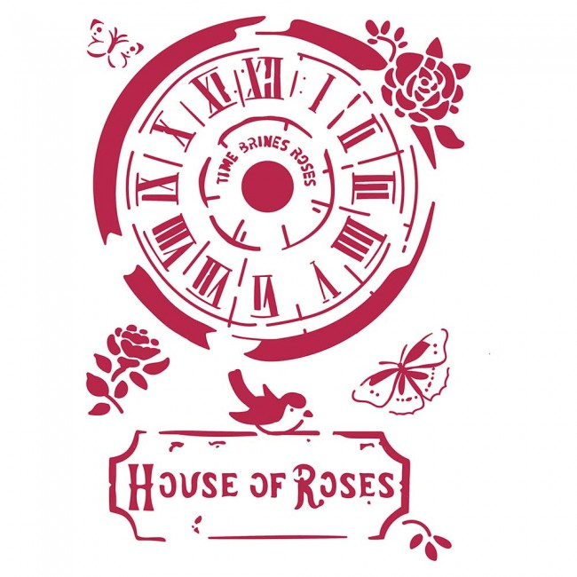 Stencil House Of Roses Clock