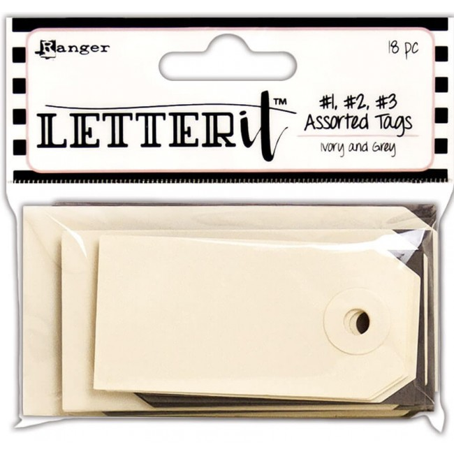 Tags Letter It - #1, #2, #3 Ivory and Grey