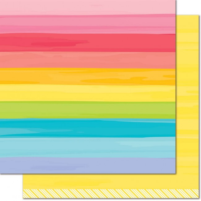 Papel Estampado Doble Cara 12x12 - Really Rainbow - Yellow Brick Road