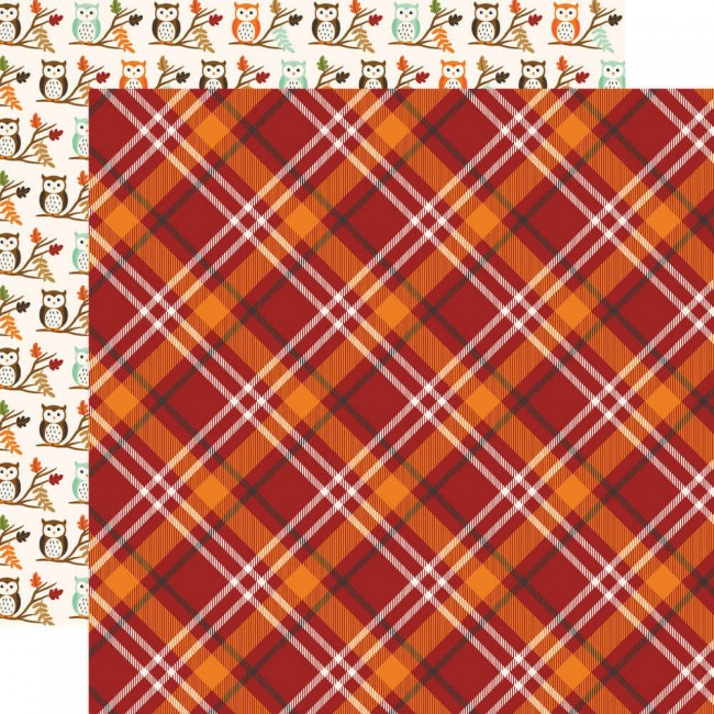 Papel Estampado Doble Cara 12x12 My Favorite Fall Fall Plaid