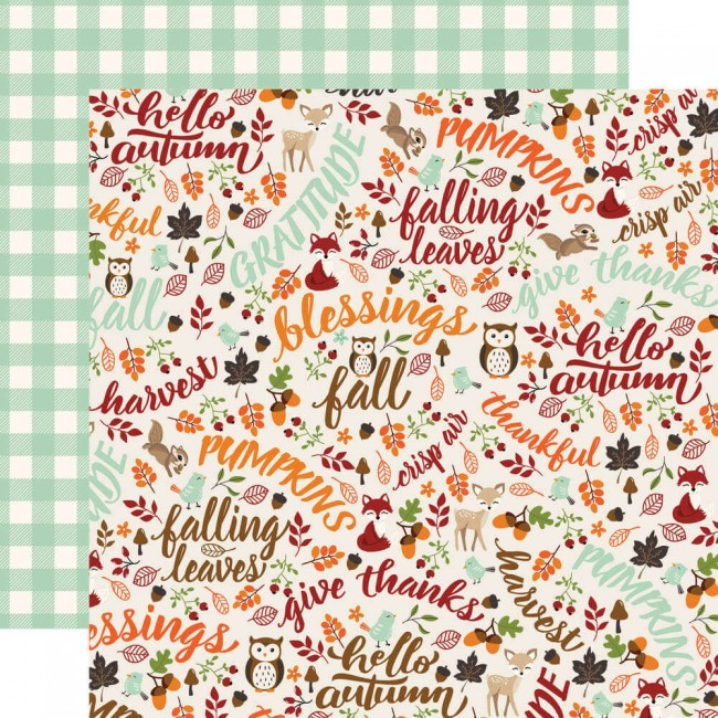 Papel Estampado Doble Cara 12x12 My Favorite Fall Hello Autumn