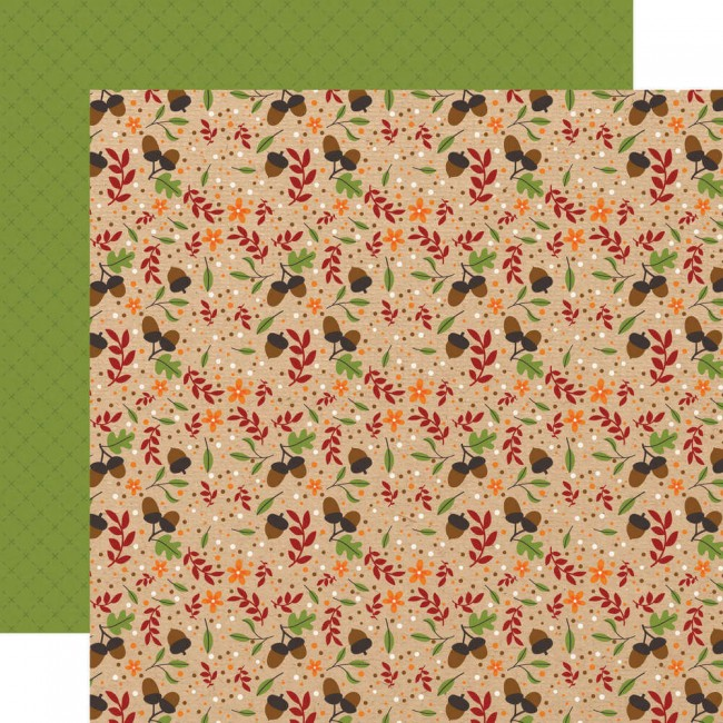 Papel Estampado Doble Cara 12x12 My Favorite Fall Autumn Acorns