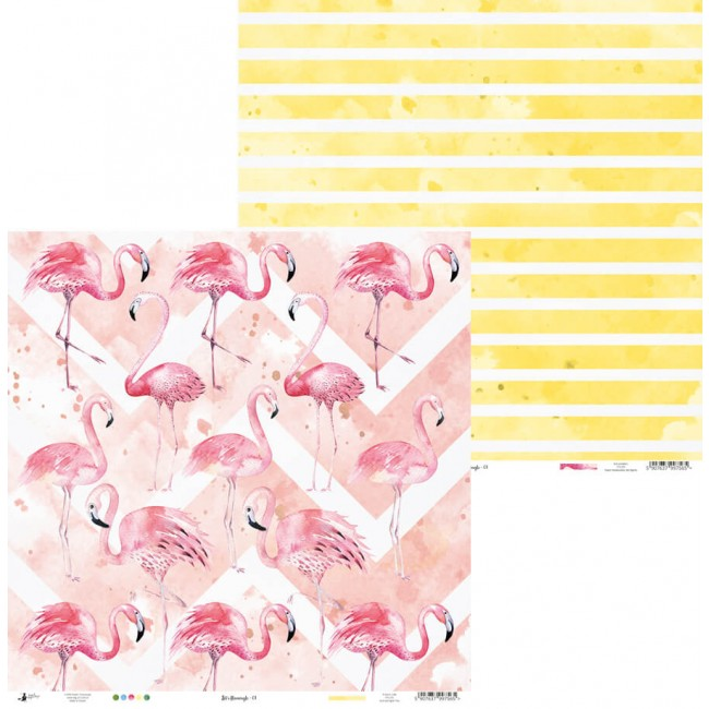 Papel Estampado Doble Cara 12x12 Let's Flamingle 01