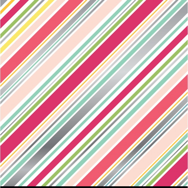 Papel estampado Doble cara 12x12 Girl Diagonal Stripe