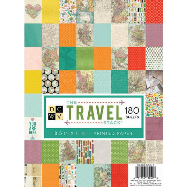 Stack 180 Papeles Estampados 8,5x11 Travel
