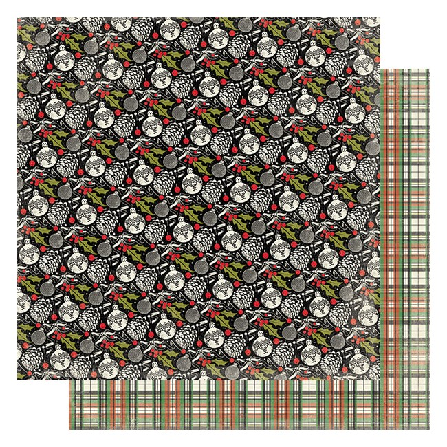 Papel Estampado Doble Cara 12x12 Rejoice #8 Ornaments & Pinecones