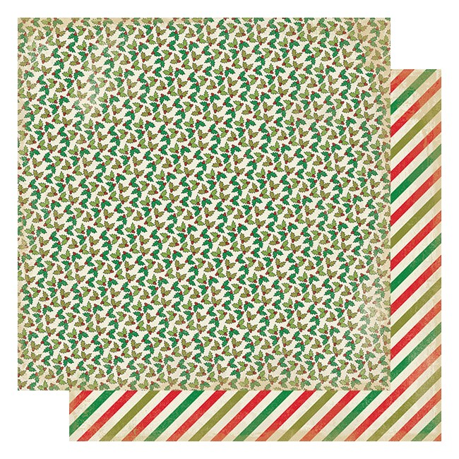 Papel Estampado Doble Cara 12x12 Rejoice #9 Mini Holly & Berries
