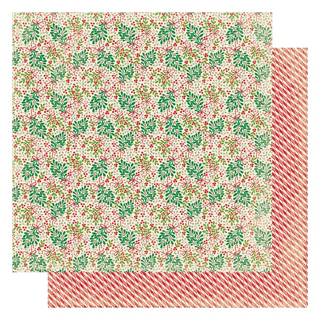 Papel Estampado Doble Cara 12x12 Rejoice #12 Mistletoe W/Berries
