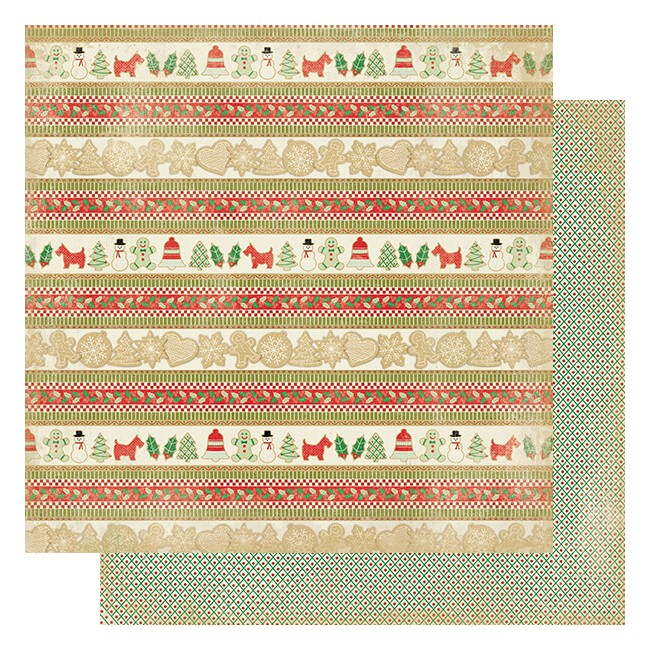 Papel Estampado Doble Cara 12x12 Rejoice #17 Cookie Border Strips