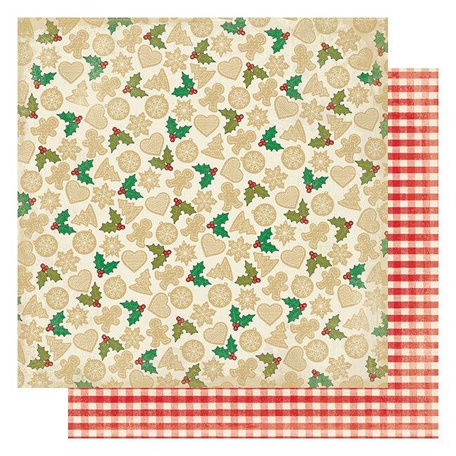 Papel Estampado Doble Cara 12x12 Rejoice #18 Sugar Cookies & Holly Leaves