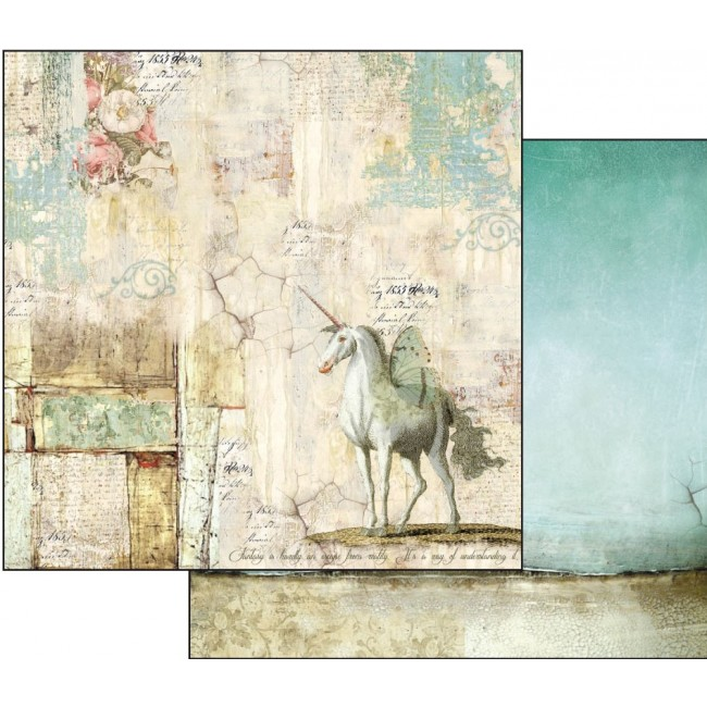 Papel Estampado Doble Cara 12x12 Fantasy unicorn