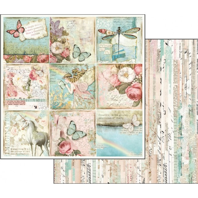 Papel Estampado Doble Cara 12x12 Fantasy butterflies and unicors cards