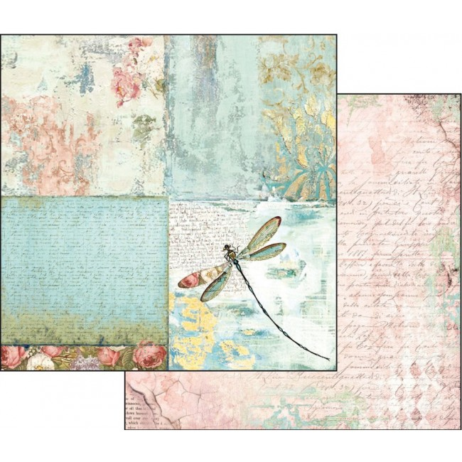 Papel Estampado Doble Cara 12x12 Fantasy dragonfly