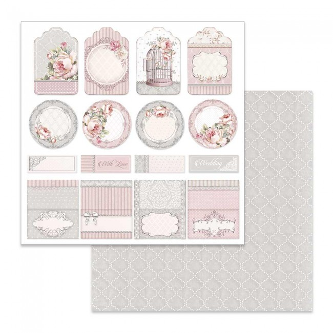 Papel Estampado Doble Cara 12x12 Wedding Tag & Pen Holder