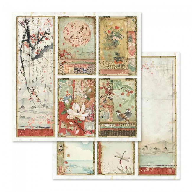 Papel Estampado Doble Cara 12x12 Oriental Garden Paintings