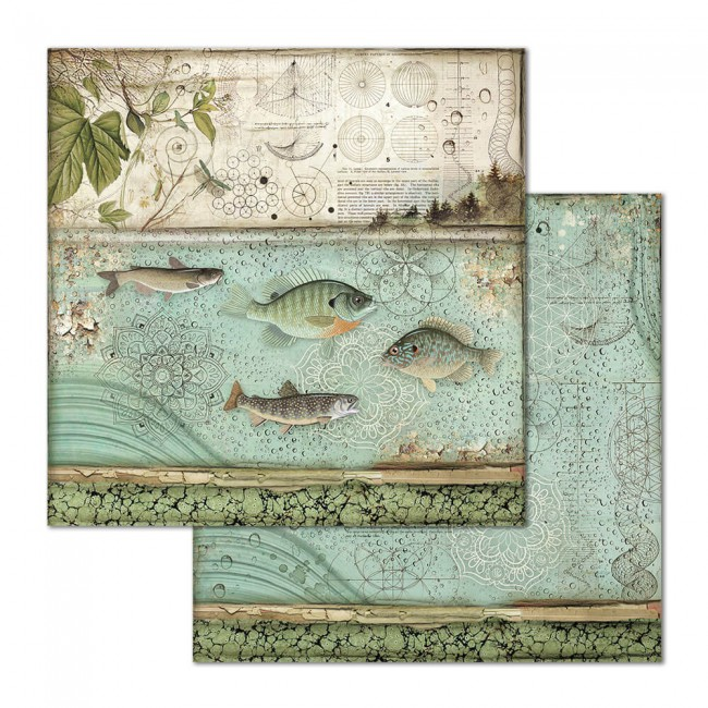 Papel Estampado Doble Cara 12x12 Forest Cristina Radovan Fish