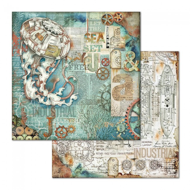 Papel Estampado Doble Cara 12x12 Mechanical Sea World Medusa
