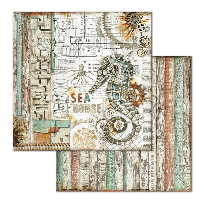 Papel Estampado Doble Cara 12x12 Mechanical Sea World Seahorse