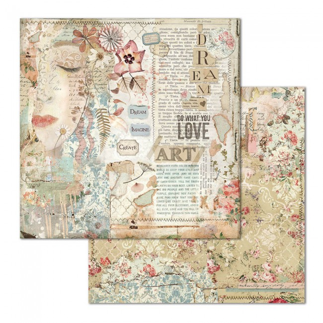 Papel Estampado Doble Cara 12x12 Imagine Love Art Face