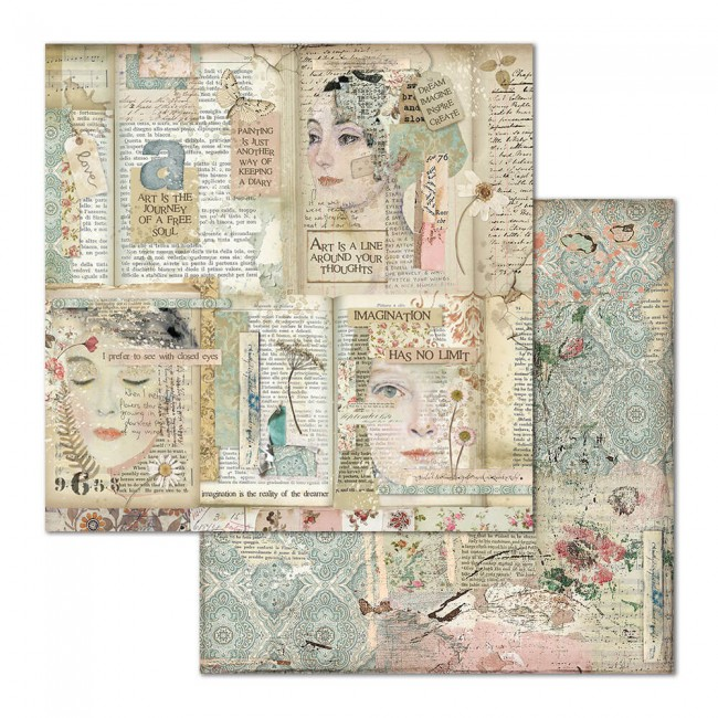 Papel Estampado Doble Cara 12x12 Imagine Faces And Writings