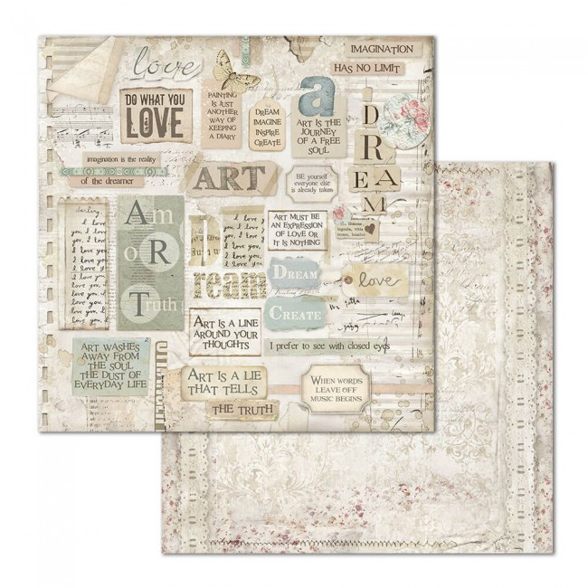 Papel Estampado Doble Cara 12x12 Imagine Dream Writtings