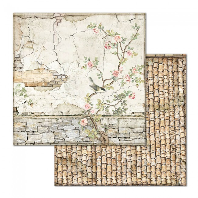 Papel Estampado Doble Cara 12x12 House Of Roses Small Bricks With Tree