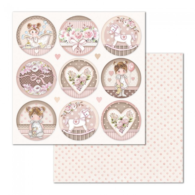 Papel Estampado Doble Cara 12x12 Little Girl & Little Boy Round