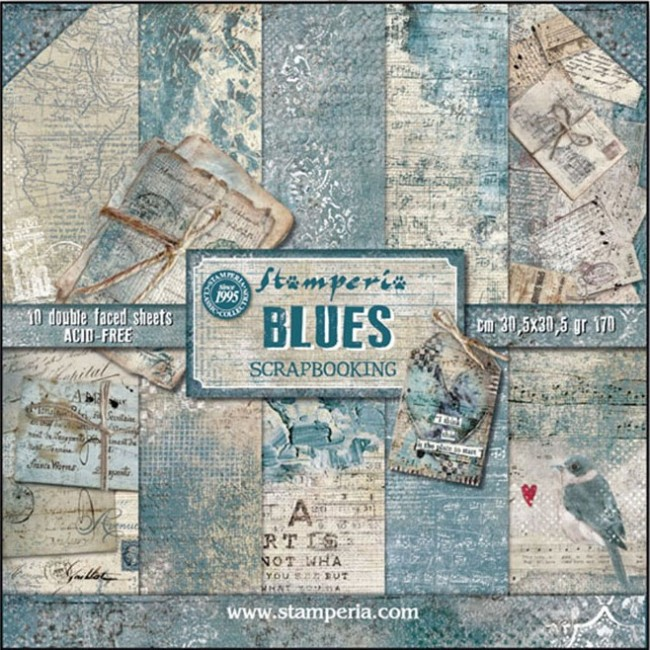 Kit Papeles Estampados 12x12 Blues