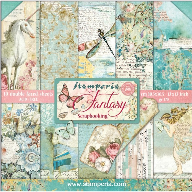 Kit Papeles Estampados 12x12 Fantasy