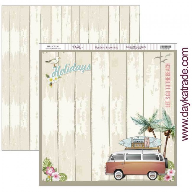 Papel Estampado Doble Cara 12x12 Fiesta Tropical Holidays