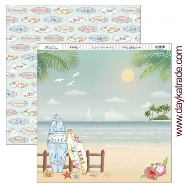 Papel Estampado Doble Cara 12x12 Fiesta Tropical Tablas surf