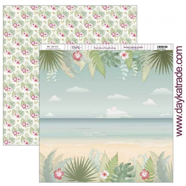 Papel Estampado Doble Cara 12x12 Fiesta Tropical Playa tropical