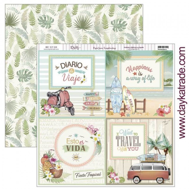 Papel Estampado Doble Cara 12x12 Fiesta Tropical Esto es vida