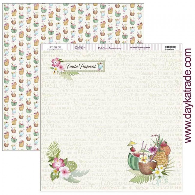 Papel Estampado Doble Cara 12x12 Fiesta Tropical Fiesta tropical