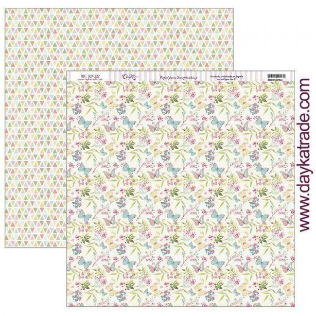 Papel Estampado Doble Cara 12x12 Fiesta Tropical Mariposas y flores