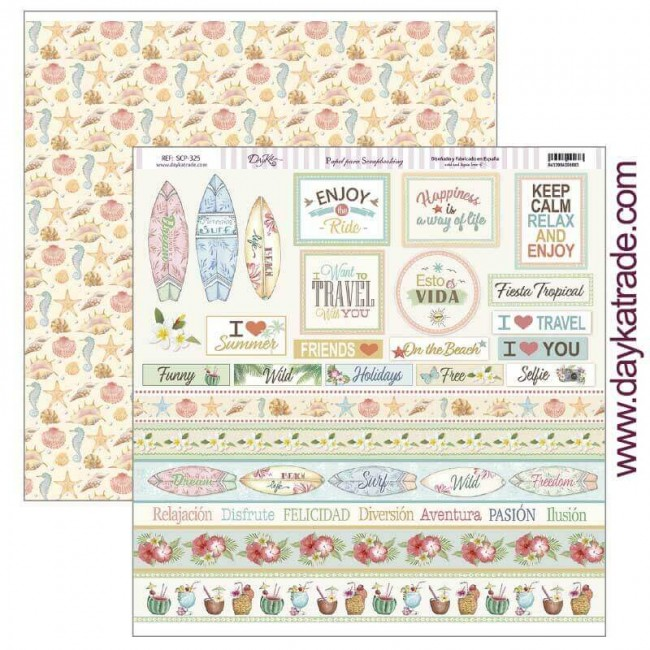 Papel Estampado Doble Cara 12x12 Fiesta Tropical Keep Calm Relax and Enjoy