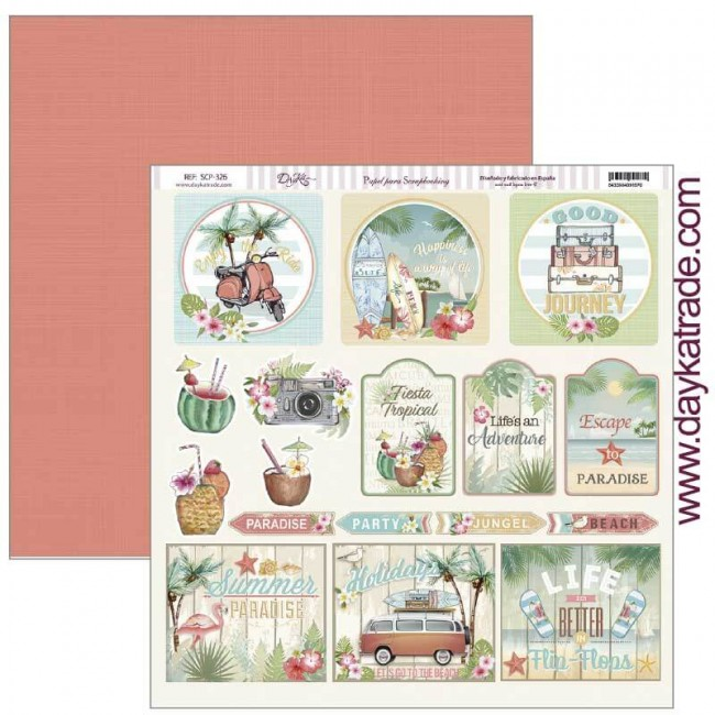 Papel Estampado Doble Cara 12x12 Fiesta Tropical Good Journey