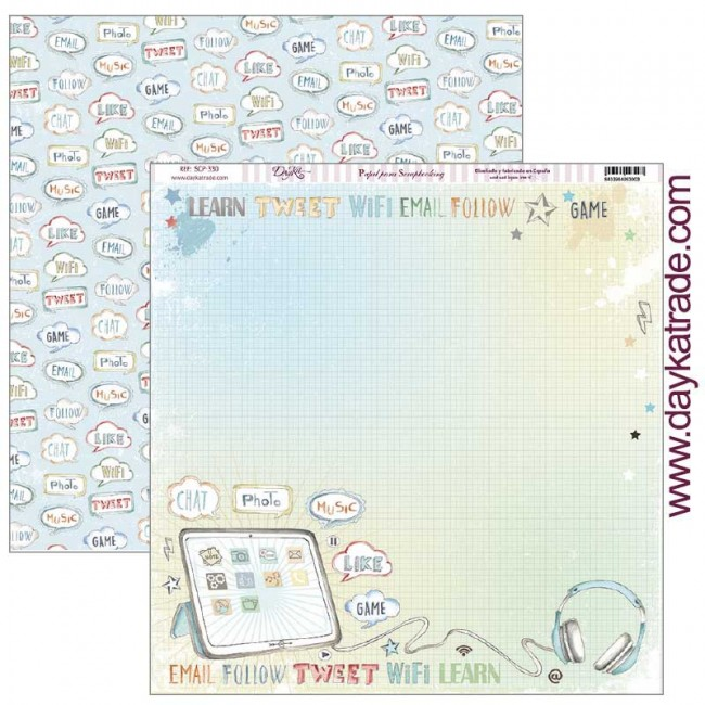 Papel Estampado Doble Cara 12x12 School Tablet con bocadillos
